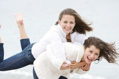 Two young happy girls on nature Stock Photography
