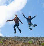Two young happy men royalty free stock photo