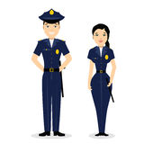 Two young happy police officers, man and woman. Stock Photography