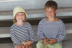 Two young happy sailors Stock Photos
