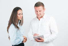 Two young happy smiling business people Stock Photo