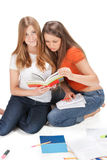 Two young happy student gir Royalty Free Stock Photo