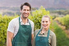 Two young happy vintners looking at camera Royalty Free Stock Photos