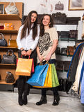 Two young happy woman with shopping bags Royalty Free Stock Images