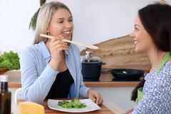 Two young happy women are cooking in the kitchen. Friends are having fun while preapering healthy and tasty meal Royalty Free Stock Photos