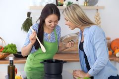 Two young happy woman making cooking in the kitchen. Friendship and culinary concept. Two young happy women making cooking in the kitchen. Friendship and Royalty Free Stock Images