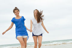 Two young happy women on natural background Stock Photography
