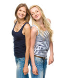 Two young happy women posing Royalty Free Stock Image