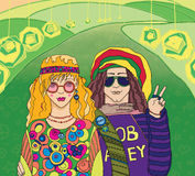 Two Young Hippies. Couple of hippies. This image is a raster illustration Royalty Free Stock Photography