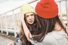 Two young  hipster girl friends Royalty Free Stock Images