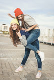 Two young  hipster girl friends Royalty Free Stock Photo