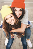Two young  hipster girl friends Stock Image
