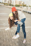 Two young  hipster girl friends Stock Photography