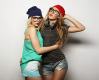 Two young hipster girls best friends Stock Photos