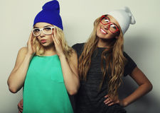 Two young hipster girls best friends Stock Photography