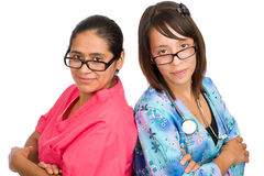 Two young hispanic nurses Stock Images