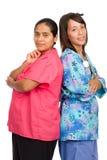 Two young hispanic nurses Stock Image