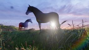 Two young horses graze on a picturesque green meadow near a beautiful pond on a beautiful spring morning. 3D Rendering. Two young horses graze on a picturesque vector illustration
