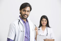 Two young Indian attractive doctors Stock Image