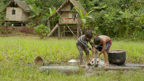 Two young indigenous boys are cleaning a football ball from mud