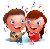 Two young kids couple happy singing serenade with guitar for valentines Royalty Free Stock Images