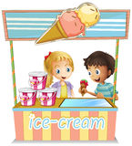 Two young kids at the ice cream stand. Illustration of the two young kids at the ice cream stand on a white background Stock Photos