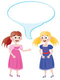 Two young ladies. To spend a dialog Royalty Free Stock Images