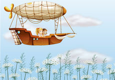 Two young ladies carried by the airship. Illustration of two young ladies carried by the airship Royalty Free Stock Photos