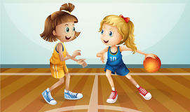Two young ladies playing basketball vector illustration