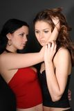 Two young lesbian girl friend. On gray background Stock Photography