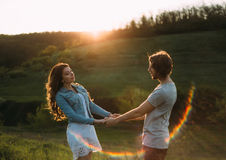 Two young lovers stock photography