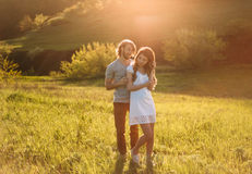 Two young lovers royalty free stock photos