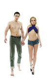 Two young lovers walking Royalty Free Stock Image