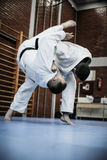 Two young males practicing judo together. Royalty Free Stock Photos