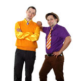 Two young man in bright colour wear Royalty Free Stock Image