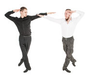 Two young man dancing irish dance isolated Stock Photography