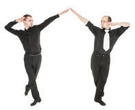 Two young man dancing irish dance isolated Royalty Free Stock Image