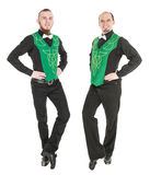 Two young man dancing irish dance isolated Royalty Free Stock Images