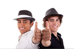Two young man of different colors, with thumb up Royalty Free Stock Photos