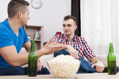 Two young man talking Stock Images