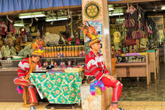 Two young man wearing tradition bright costumes in Taipei County. TAIPEI CITY, TAIWAN - JANUARY 22, 2015: Two young man wearing tradition bright costumes in stock images