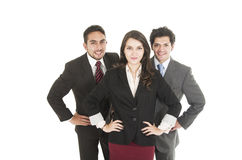 Two young men and a beautiful girl dressed in Stock Photography