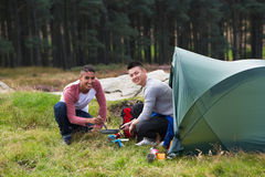 Two Young Men On Camping Trip In Countryside Royalty Free Stock Photo