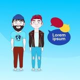 Two Young Men With Chat Bubbles On Blue Backgroud Social Media Communication Concept. Flat Vector Illustration royalty free illustration