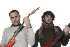 Two young men with electric guitars Royalty Free Stock Photos