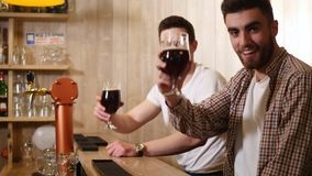 Two young men friends sitting in bar and talking with each other while drinking beer.  stock video footage
