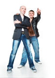 Two young men in jeans Stock Photography