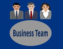 The Ultimately Business Team. Two young men and one young woman are the ultimately business team of this company. The sit around a table and are in a good mood Royalty Free Stock Photos