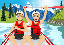 Two young men in a raft boat crossing finish raising his paddle. Whitewater rafting concept Royalty Free Stock Photos