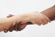 Two young men shaking hands, close-up, studio shot Stock Image